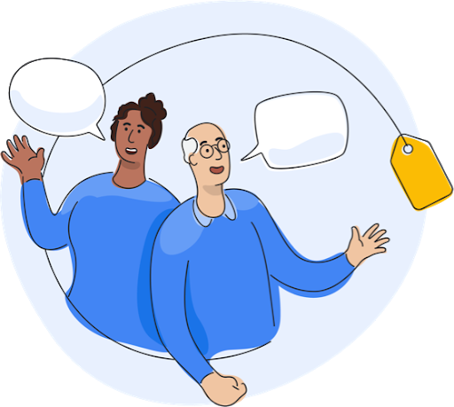 Google Shopping team members talking with speech bubbles