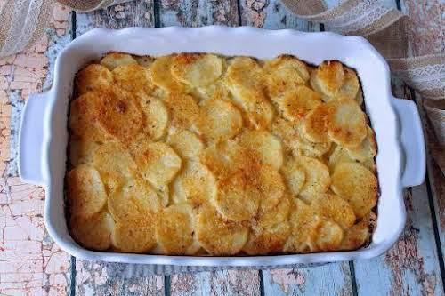 "Asiago & Gruyere Potato Gratin ""Here is a new twist on scalloped..."