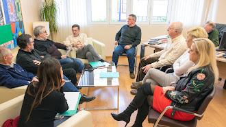 Reunión ayer en la sede del PSOE.