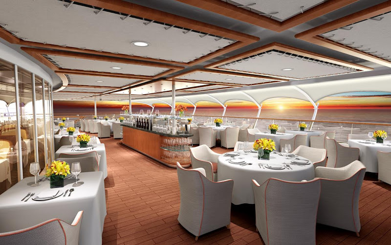 An artist's conception of how The Grill by Thomas Keller is expected to look on the aft deck of Ovation.