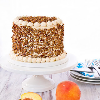 Peach Cake with Dulce de Leche Swiss Meringue Buttercream