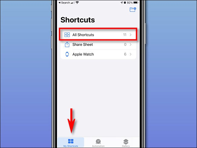 """Tap """"My Shorcuts"""" and """"All Shortcuts"""" on iPhone."""