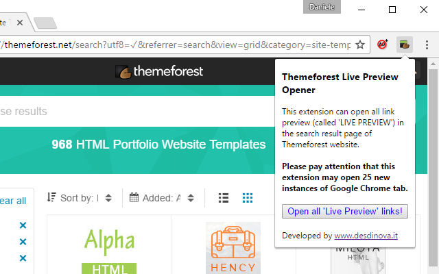 ThemeForest Live Preview Opener