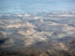 Photo: A digitally enhanced photo showing a closeup of the topography in the plains below.
