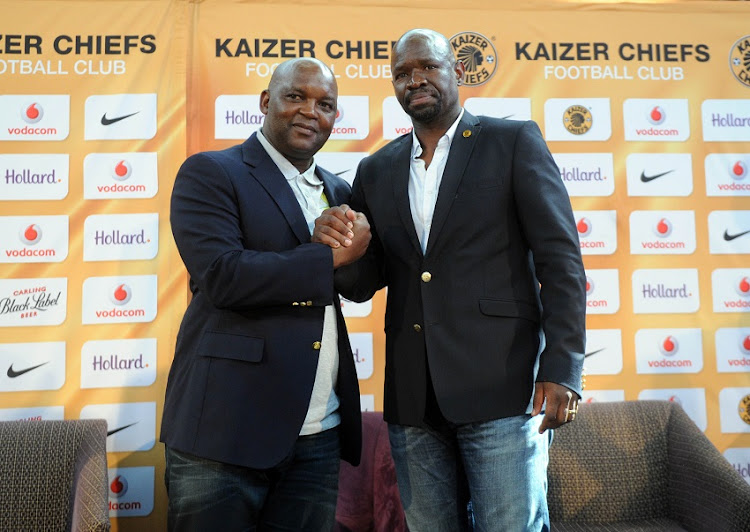 Mamelodi Sundowns coach Pitso Mosimane shakes hands with his then Kaizer Chiefs counterpart Steve Komphela during the Absa Premiership press conference on the March 30 2017 at Hollard Offices.
