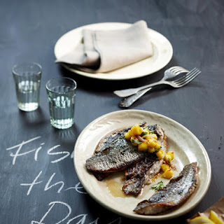 Grilled Cod with Mango Salsa.