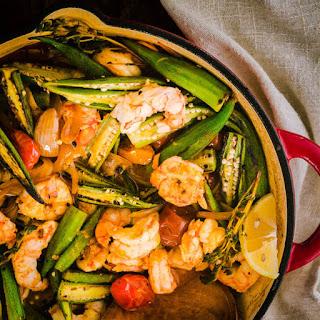 Healthy Cajun-Style Charred Okra and Shrimp.