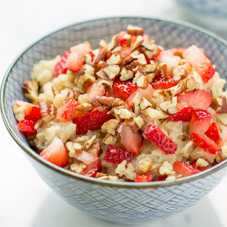 Strawberry Oatmeal with Pecans