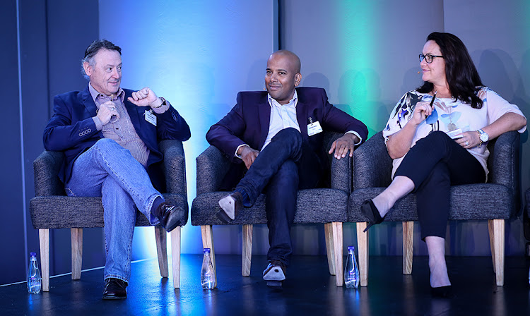 From left, Stephen Green of Dimension Data, Garsen Naidu of Cisco, and Lisa MacLeod of Tiso Blackstar Group speak at the recent Business Day Dialogue