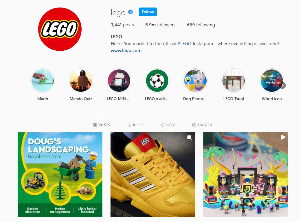 LEGO Instagram profile