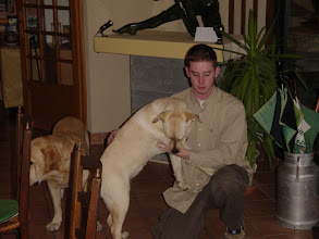 Photo: Barry with the two dogs, Popeye and Pomme (Apple), who are father and daughter.