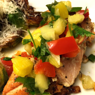 Baked Salmon with Pineapple Pepper Mango Salsa