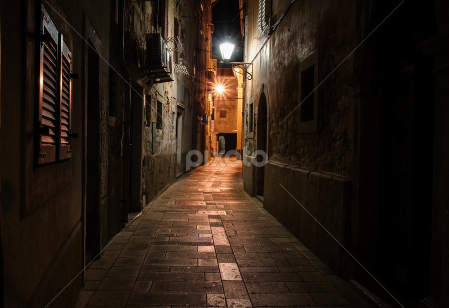 2:30 AM by Michael Keel - City,  Street & Park  Neighborhoods ( cobblestone street, cres, croatia, italy, alley )