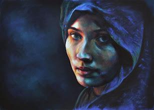Photo: Retrato en azules, pastel