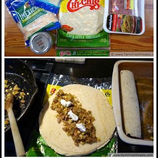 Green Pork, Corn and Zucchini Enchiladas