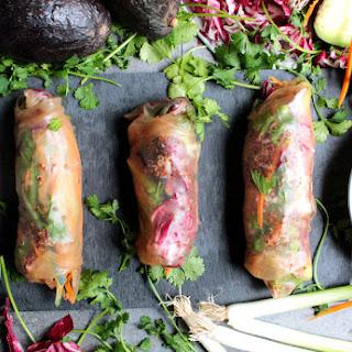 {vegan} Red Quinoa Veggie Spring Rolls In Brown Rice Wrappers