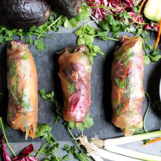 {vegan} Red Quinoa Veggie Spring Rolls In Brown Rice Wrappers.