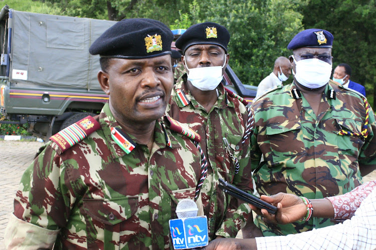 Rift Valley Regional Commissioner Gorge Natembeya addresses the media after a closed-door security meeting at the Kenya School of Government in Kabarnet town, Baringo , on Thursday, April 16.