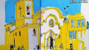 Juan Valle muestra su visión de la Patrona en una de las obras que podrán verse.