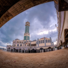 The Floating Mosque by Ah Wei (Lung Wei) - Buildings & Architecture Architectural Detail ( samyang, fisheye, sunrises, george town, penang island, malaysia, tanjung bungah, landscape, samyang 12mm f2.8, samyang 12mm f/2.8 ed as ncs fisheye, george town penang, pulau pinang, floating mosque, penang, masjid terapung, sunrise, tanjung bungah floating mosque )