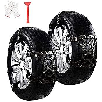 "WeyTy Car Snow Tire Chains Anti Slip Snow Skid Mud Chains Winter Universal Adjustable for Cars/SUV/Truck/ATV Anti-Skip, Snow, Mud and Sand Tire Traction Device, Tire Width with 6""-11 6pcs"