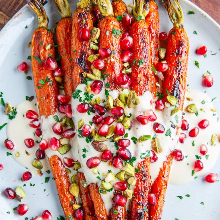 Maple Roasted Carrots in Tahini Sauce with Pomegranate and Pistachios ...