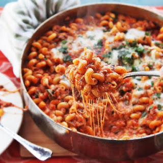American Chop Suey (Macaroni, Beef, and Cheese Skillet Casserole).