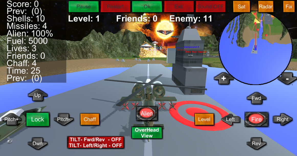 Armour Helicopter vs Aliens- screenshot