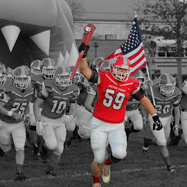 American Pride by Brian  Shoemaker  - Sports & Fitness American and Canadian football ( pride, high school, friday night lights, america, football, black and white, american, american flag,  )