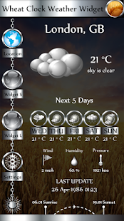 Wheat Clock Weather Widget - náhled