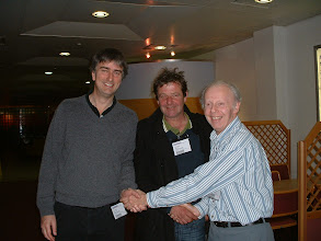 Photo: The Two Richards - Richard Haydon of Brown Jack and Richard White of Trowbridge receive the 2011 Wiltshire Rapidplay Team Tournament runners-up prize money from the Wiltshire County Chess Association Tournament Secretary Tony Ransom.