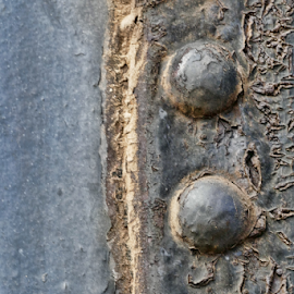 Train detail by Gwen Paton - Abstract Patterns ( abstract, metal, gray, blues, train detail )