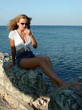 Photo: ukrainian medical student wearing short shorts poses near water, cuba. Tracey Eaton photo