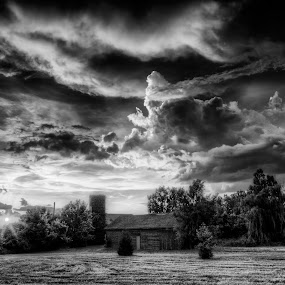 July Afternoon on the Farm by Jim Crotty - Landscapes Cloud Formations ( clouds, calm, ohio nature and landscape photography, greene county, peaceful, jim crotty, black and white, fine art, beauty, storm, photography, rural, farm, sky, ohio, dayton, xenia, beavercreek, b and w, landscape, b&w, monotone, mono-tone )