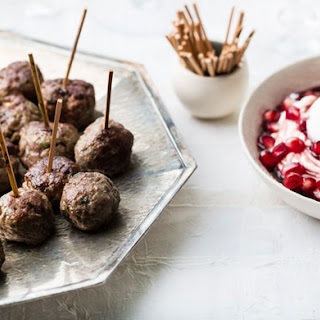 Turkish Spiced Meatballs with Pomegranate Yogurt Sauce.
