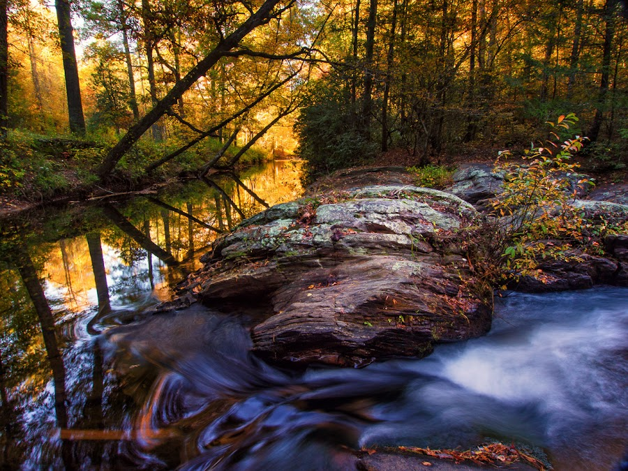 Dick's Creek, GA by Rob Knight - Landscapes Waterscapes ( creek, waterfall, georgia, fall color )