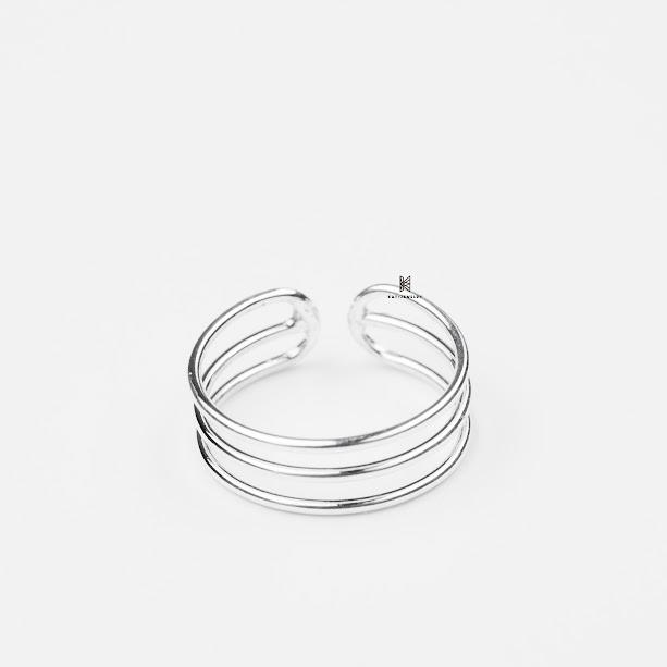 Nhẫn bạc cao cấp 925 toe ring 3 line