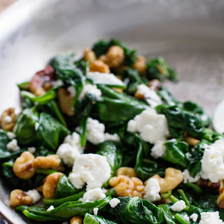 Wilted Spinach with Walnuts and Goat Cheese.