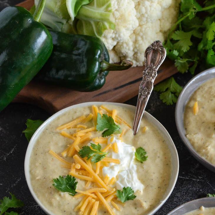 Roasted Poblano Chicken Cauliflower Soup