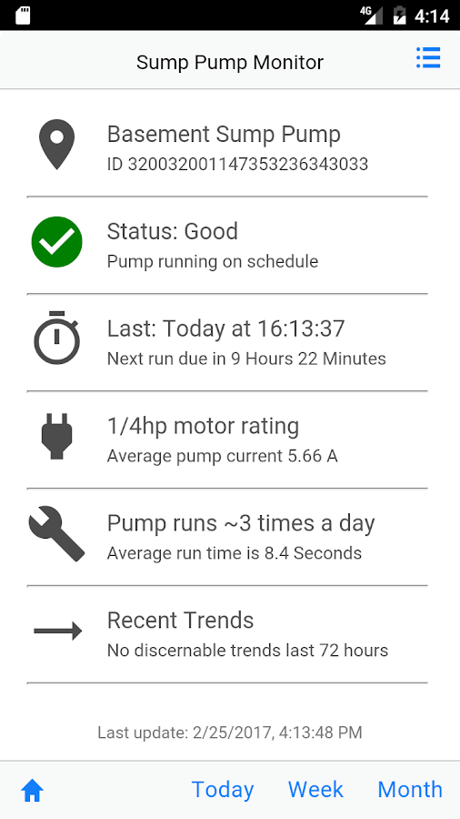 Sump Pump Monitor- screenshot