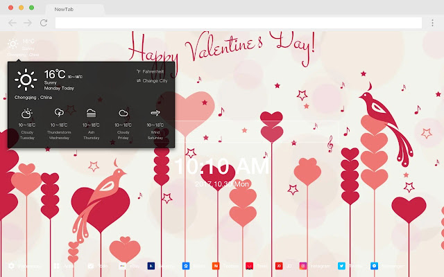 Valentine Love HD New Tab Romance Theme