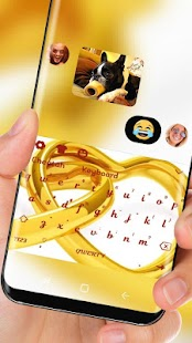 Gold Heart Ring Keyboard Theme - náhled