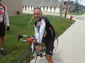 Photo: La Crosse WI to Portage WI  Meet another cyclist, visiting from PA, rented a bike to get some riding in. At home he races for Cofidas.
