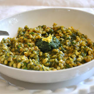 Vegan Toasted Barley Risotto With Savory Spinach Sauce.