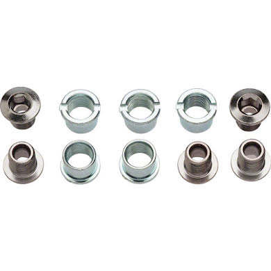 Sugino Single Chainring Bolt Set/5 Chromed Steel