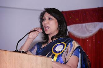 Photo: Dr. A.D. Madhavi presenting her speech
