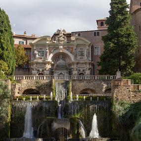 by William Stansbury - City,  Street & Park  Fountains ( tivoli gardens, fountain, roman villa, tivoli, italy,  )