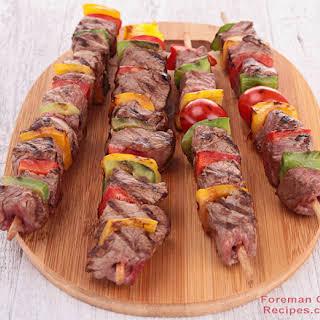 Foreman Grill Steak Kebabs.