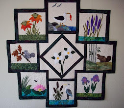 Photo: Wetland Wonders wall hanging by Geraldine Rorabeck, Picton Fabric World, Picton, Ontario