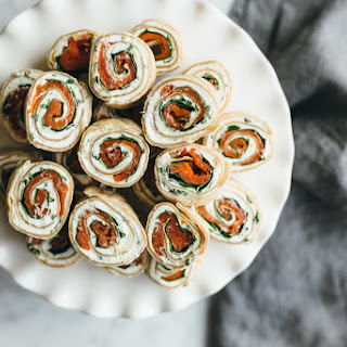 Herbed Chevre, Spinach and Smoked Salmon Pinwheel